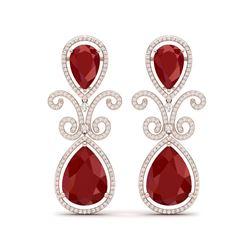 31.6 ctw Designer Ruby & VS Diamond Earrings 18K Rose Gold