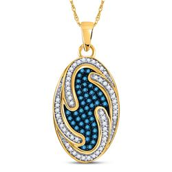 10kt Yellow Gold Round Blue Color Enhanced Diamond Oval Wave Pendant 1/2 Cttw