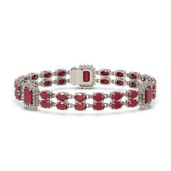 30.83 ctw Ruby & Diamond Bracelet 14K White Gold
