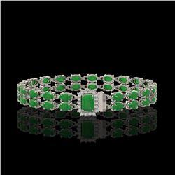 12.3 ctw Jade & Diamond Bracelet 14K White Gold