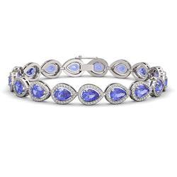 19.14 ctw Tanzanite & Diamond Micro Pave Halo Bracelet 10K White Gold