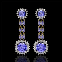 20.06 ctw Tanzanite & Diamond Earrings 14K Yellow Gold