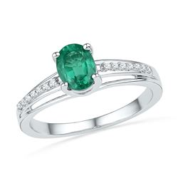10kt White Gold Oval Lab-Created Emerald Solitaire Ring 1/12 Cttw