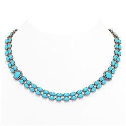 47.17 ctw Turquoise & Diamond Necklace 14K Rose Gold