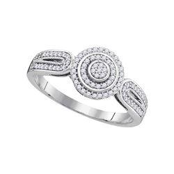 10kt White Gold Round Diamond Circle Cluster Bridal Wedding Engagement Ring 1/5 Cttw