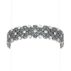 42.26 ctw Blue Topaz & Diamond Bracelet 18K White Gold
