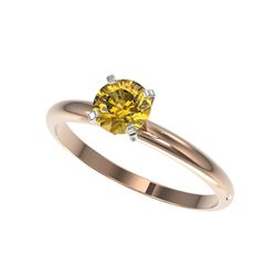 .75 ctw Certified Intense Yellow Diamond Engagement Ring 10K Rose Gold