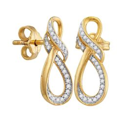 10kt Yellow Gold Round Diamond Infinity Screwback Earrings 1/6 Cttw