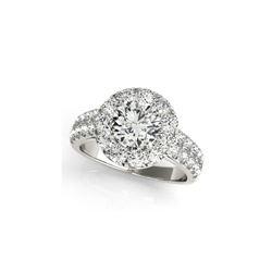 1.52 ctw Certified VS/SI Diamond Halo Ring 18K White Gold