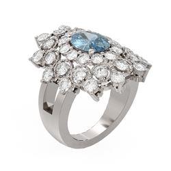 6.22 ctw Blue Topaz & Diamond Ring 18K White Gold