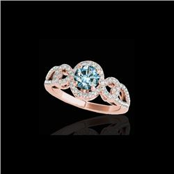 1.38 ctw SI Certified Fancy Blue Diamond Halo Ring 10K Rose Gold
