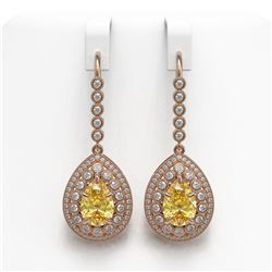 8.15 ctw Canary Citrine & Diamond Victorian Earrings 14K Rose Gold