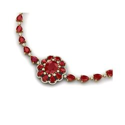 78.98 ctw Ruby & VS Diamond Necklace 18K Yellow Gold