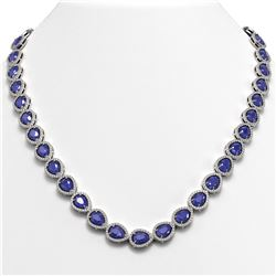 45.93 ctw Sapphire & Diamond Micro Pave Halo Necklace 10K White Gold