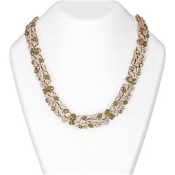53.45 ctw Canary Citrine & Diamond Necklace 18K Rose Gold