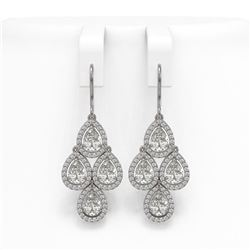 5.85 ctw Pear Cut Diamond Micro Pave Earrings 18K White Gold