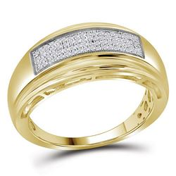 Yellow-tone Sterling Silver Mens Round Diamond Wedding Band Ring 1/5 Cttw