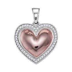 10kt White Rose-tone Gold Round Diamond Framed Heart Pendant 1/5 Cttw