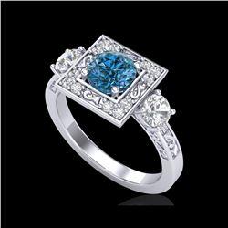 1.55 ctw Intense Blue Diamond Art Deco 3 Stone Ring 18K White Gold