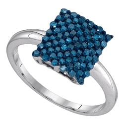 10kt White Gold Round Blue Color Enhanced Diamond Rectangle Cluster Ring 1/2 Cttw