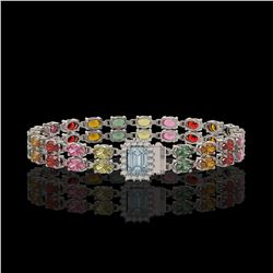 19.34 ctw Sapphire & Diamond Bracelet 14K White Gold