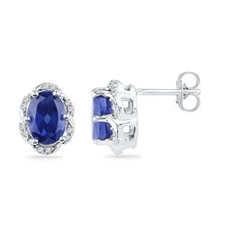 10kt White Gold Oval Lab-Created Blue Sapphire Solitaire Diamond Earrings 2-1/2 Cttw