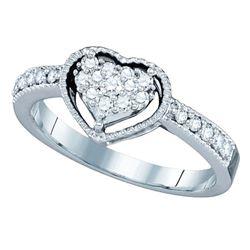 14kt White Gold Round Diamond Heart Cluster Ring 1/3 Cttw