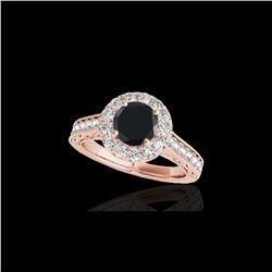 1.7 ctw Certified VS Black Diamond Solitaire Halo Ring 10K Rose Gold