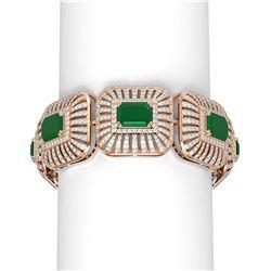 56.47 ctw Emerald & Diamond Bracelet 18K Rose Gold