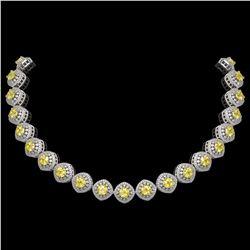 62.37 ctw Canary Citrine & Diamond Victorian Necklace 14K White Gold