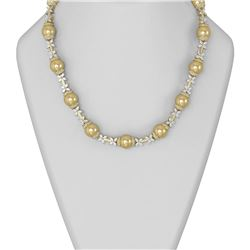 29 ctw Diamond and Pearl Necklace 18K Yellow Gold