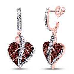 10kt Rose Gold Round Red Color Enhanced Diamond Heart Dangle Screwback Earrings 1/3 Cttw