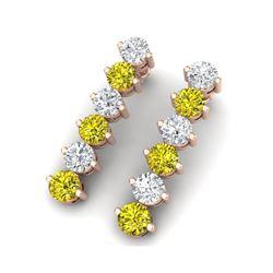 6 ctw Certified SI/I Fancy Yellow Diamond Earrings 18K Rose Gold