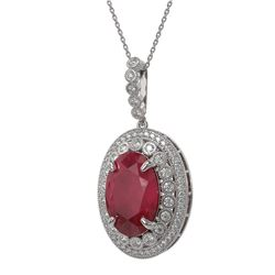 18.25 ctw Certified Ruby & Diamond Victorian Necklace 14K White Gold