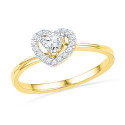 10kt Yellow Gold Round Diamond Heart Promise Bridal Ring 1/4 Cttw