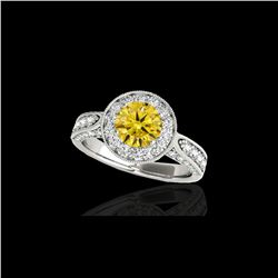 2 ctw Certified SI/I Fancy Intense Yellow Diamond Halo Ring 10K White Gold