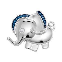 Sterling Silver Blue Color Enhanced Diamond Elephant Charm Pendant 1/10 Cttw