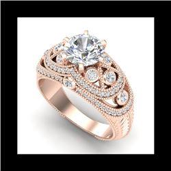2 ctw VS/SI Diamond Solitaire Art Deco Ring 18K Rose Gold