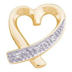 10kt Yellow Gold Round Diamond Small Ribbon Heart Pendant .02 Cttw