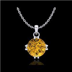1 ctw Intense Fancy Yellow Diamond Art Deco Necklace 18K White Gold