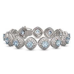32.95 ctw Aquamarine & Diamond Victorian Bracelet 14K White Gold