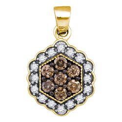 10kt Yellow Gold Round Brown Diamond Hexagon Flower Cluster Pendant 1/2 Cttw