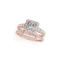 2.02 ctw Certified VS/SI Princess Diamond 2pc Set Ring Halo 14K Rose Gold