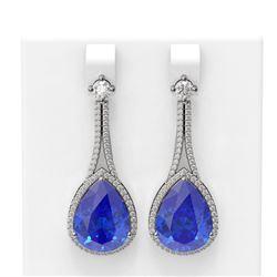 24.5 ctw Tanzanite & Diamond Earrings 18K White Gold