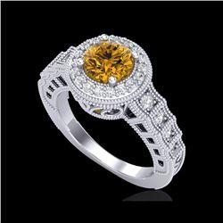 1.53 ctw Intense Fancy Yellow Diamond Art Deco Ring 18K White Gold