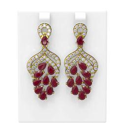13.02 ctw Ruby & Diamond Earrings 18K Yellow Gold