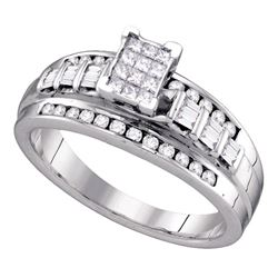 Sterling Silver Princess Diamond Cluster Bridal Wedding Engagement Ring 1/2 Cttw