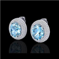 10 ctw Sky Blue Topaz & Micro Pave Diamond Earrings 18K White Gold