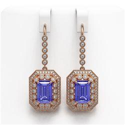 11.66 ctw Tanzanite & Diamond Victorian Earrings 14K Rose Gold