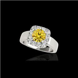 1.55 ctw Certified SI/I Fancy Intense Yellow Diamond Ring 10K White Gold